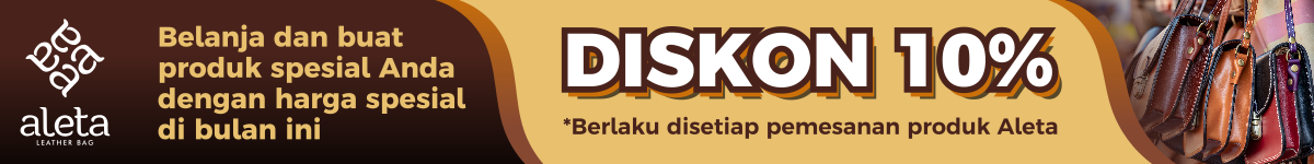 Aleta promo diskon banner tas kulit jogja